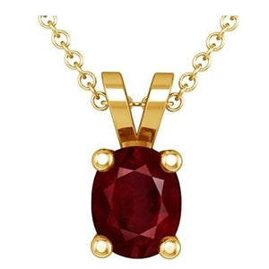 Voss+Agin 1.00CTW 18'' Genuine Oval Shaped Ruby Pendant and Necklace in 14K Gold Plated