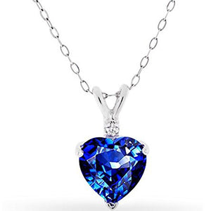 "Voss+Agin 3.00CTW 18"" Simulated Sapphire and Diamond Heart Shaped Pendant"