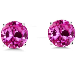 Voss+Agin 1.75CTW Simulated Pink Sapphire Stud Earrings in Sterling Silver