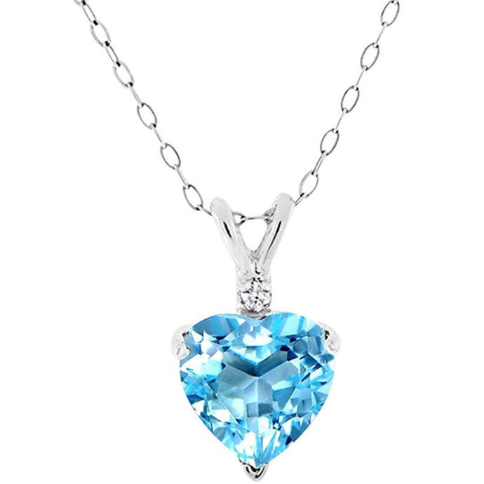 Voss+Agin 3.00CTW 18'' Genuine Blue Topaz and Diamond Heart Shaped Pendant