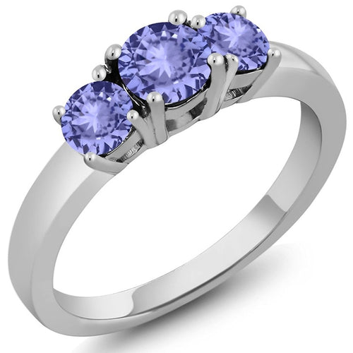 Voss+Agin 1.06 cttw Genuine Round Tanzanite Gemstone 3-Stone Ring in Blue
