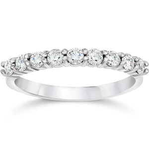1/2ct Diamond Ring Half Eternity Wedding Band in 14K White Gold