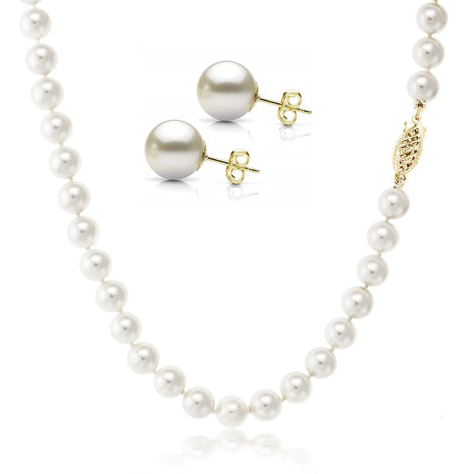 VOSS+AGIN 14k Yellow Gold AAA+ White Round Freshwater Pearl Necklace & Stud Earrings Set with Gift Box