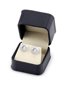 VOSS+AGIN 14k Yellow Gold AAA+ White Round Freshwater Pearl Stud Earrings with Gift Box