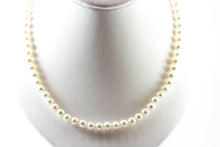 VOSS+AGIN 14k Yellow Gold AAA+ White Round Freshwater Pearl Necklace & Stud Earrings Set w/Gift Box