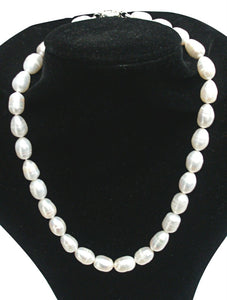 10MM White Genuine Freshwater Baroque Pearl Necklace