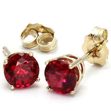 2.00 ctw Lab Grown Ruby Stud Earrings Set In 14kt Yellow Gold