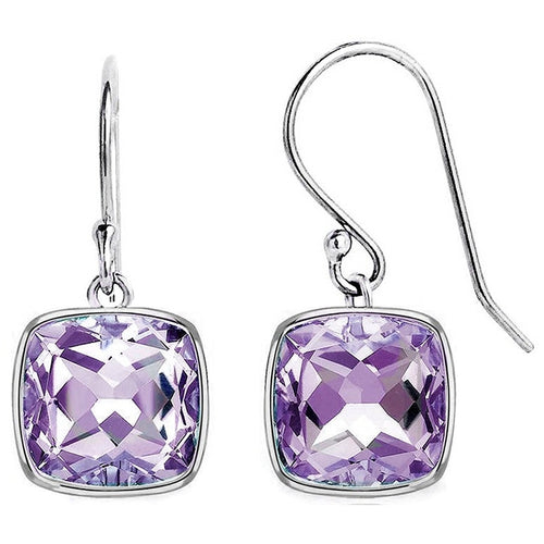 Voss+Agin 3.0 CTW Genuine Amethyst Dangle Earrings in Sterling Silver