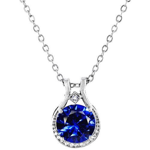 Voss+Agin 3.00 CTW Genuine Diamond and Sapphire Halo Pendant in Sterling Silver