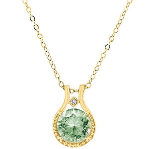 "Voss+Agin 3.00 CTW 18"" Genuine Diamond and Green Amethyst Halo Pendant in 14k Yellow Gold"