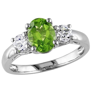 Voss+Agin 1.25CTW Genuine Peridot and Diamond 3 Stone Ring in SS