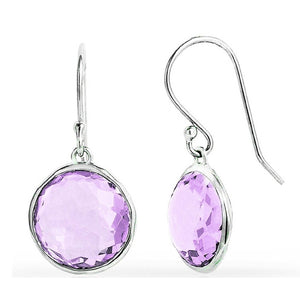 Voss+Agin 4.5 CTW Genuine Amethyst Round Drop Earrings in Sterling Silver