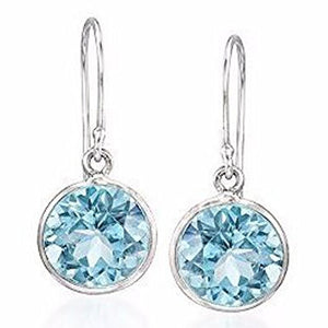 Voss+Agin 5.00CTW Genuine Blue Topaz Round Drop Earrings in Sterling Silver