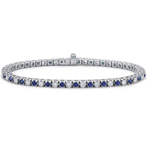 "Voss+Agin 1.50 CTW 7.25"" Diamond and Blue Sapphire Tennis Bracelet in 14K White Gold"