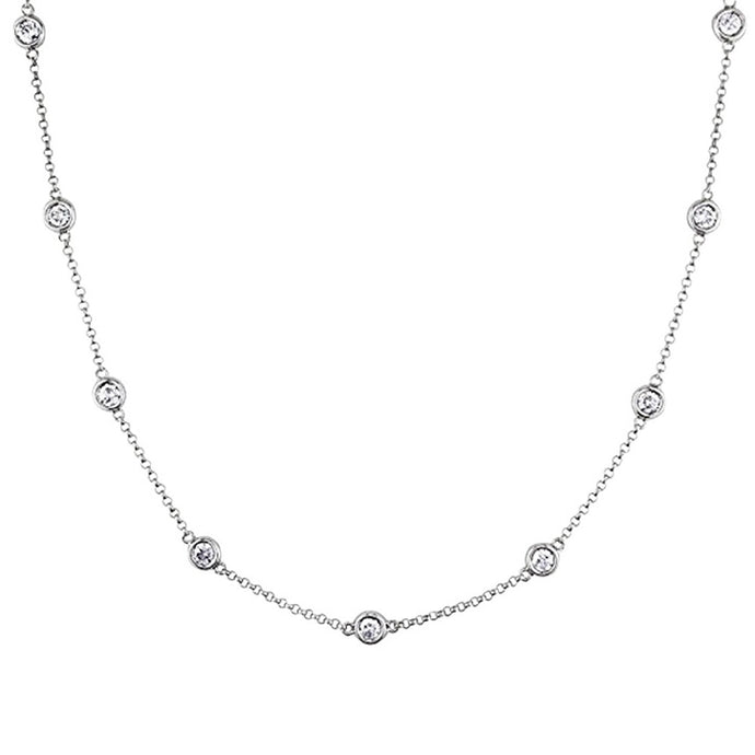 Voss+Agin 1.00CTW 18'' Genuine Diamond 10 Station Strand Necklace in 14K White Gold