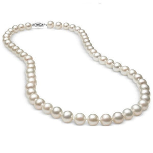 "Voss+Agin 10MM 18"" Freshwater Cultured White Pearl Necklace in 14K White Gold"