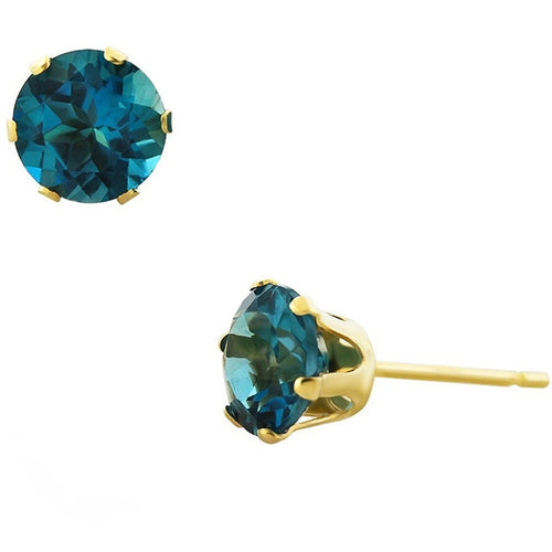 Voss+Agin 1.80CTW London Blue Topaz 6mm Stud Earrings in 14K Yellow Gold
