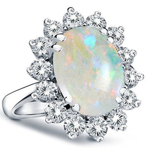 Voss+Agin .70 Ct Genuine Diamond and Opal Ring in 14k White Gold