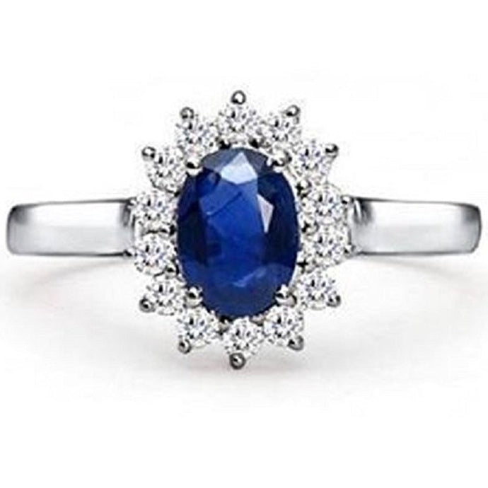 Voss+Agin Princess Diana 1.50 CTW Genuine Diamond & Sapphire Ring in 14K White Gold