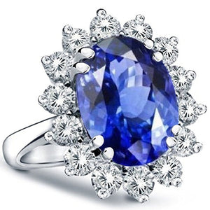 Voss+Agin 3.00ctw Princess Diana Genuine Diamond & Sapphire Ring in 14K White Gold