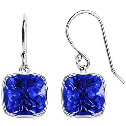 Voss+Agin 4.00 CTW Simulated Blue Sapphire Drop Earrings in Sterling Silver