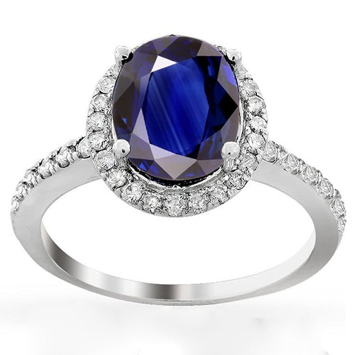 Voss+Agin 3.00ctw Genuine Oval Sapphire and Diamond Halo Ring in 14K White Gold
