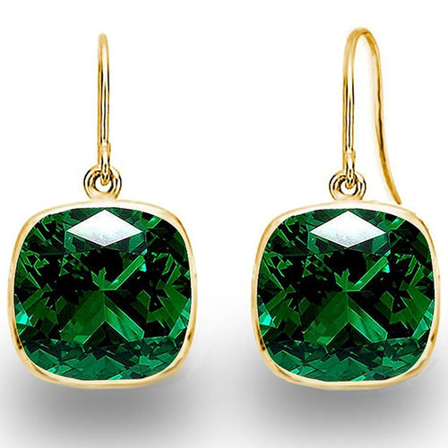 Voss+Agin 4.00 CTW Simulated Emerald Gold Plated Drop Earrings in Green