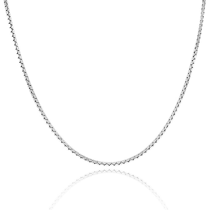 Voss+Agin Italian made .925 Sterling Silver 0.8mm Box Chain Necklace