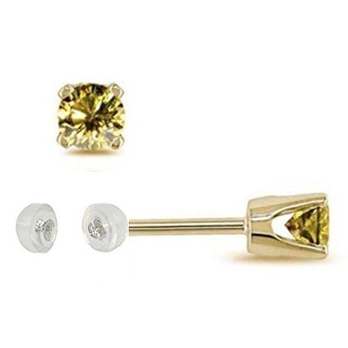 Voss+Agin .25CTW Treated Canary Diamond Stud Earrings in 14K Yellow Gold