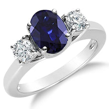 Voss+Agin 2.00CTW Genuine Diamond & Oval Sapphire 3 Stone Ring in 14k White Gold