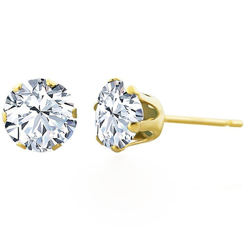 Voss+Agin 1.75CTW Genuine White Topaz Stud Earrings in 14K Yellow Gold