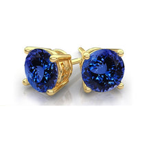 14k Solid Yellow Gold Brilliant Round 6mm Tanzanite Stud Earrings