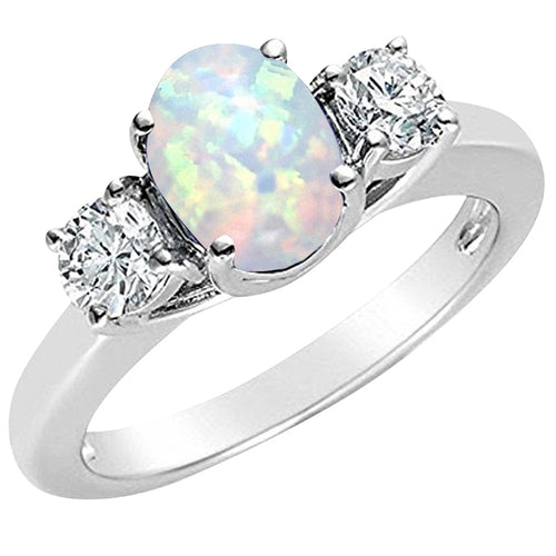 Beautiful Genuine Diamond & Opal Ring in 14kt