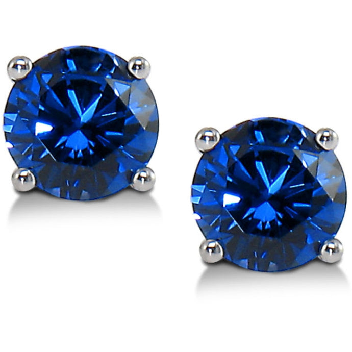 Voss+Agin 2.00CTW Lab Grown 6MM Blue Sapphire Studs in 14K Gold