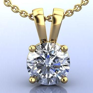 2.00CTW Created Diamond Pendant in Solid 14K. Yellow Gold