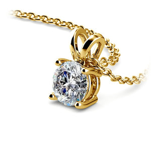2.00CTW Created Diamond Pendant in Solid 14K Yellow Gold