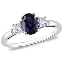 Voss+Agin 1.50 CTW Genuine Sapphire Ring with Diamonds in SS