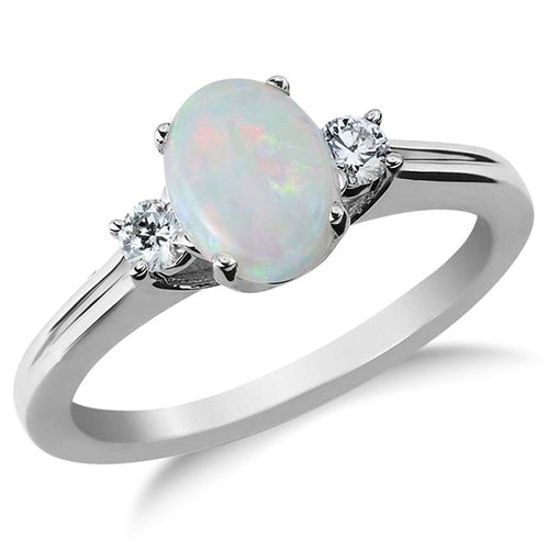 Voss+Agin Genuine Opal and Diamond Ring in SS