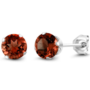 2.00 Ct Round Genuine Red Garnet Stud 6mm Earrings in 925 Sterling Silver
