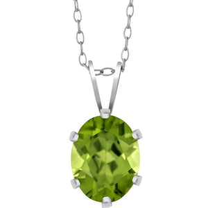 Voss+Agin 2.00 cttw Natural Green Peridot Pendant Necklace in Sterling Silver