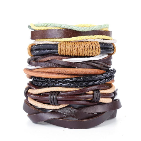 Boho Leather Bracelet Hemp Cuff Braided Bracelet Set