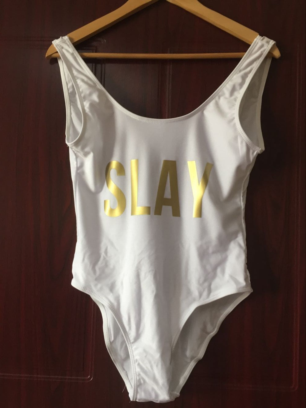 SLAY Gold Letter One Piece Bodysuit Siwmsuits Girl Beachwear Bathing Suits Jumpsuits Playsuit High Waist Bikini Bathing Suits