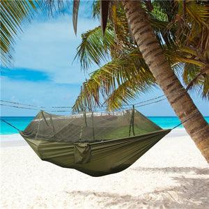 Open image in slideshow, Hiking Camping Parachute Material Hammock with Mosquito Net