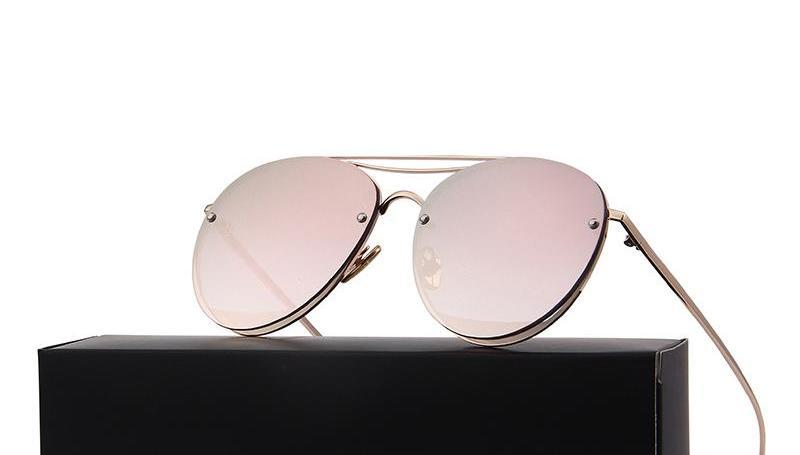 Flat Reflective Aviator Sunglasses