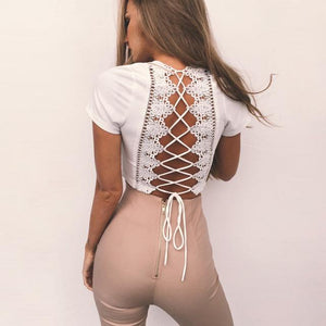 Open image in slideshow, BB White T - Lovers Shapley Front / Lace up back T