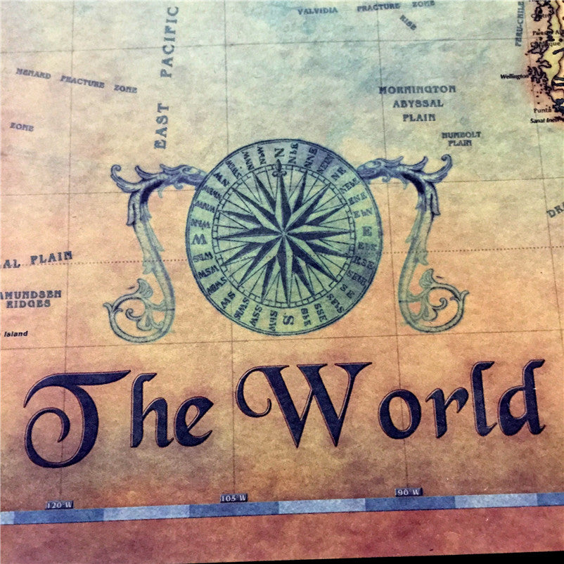 World at Sea - Vintage Card World Map