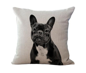 "Open image in slideshow, 18"" Black & White Cushion Covers - Frenchie Gear Collection"