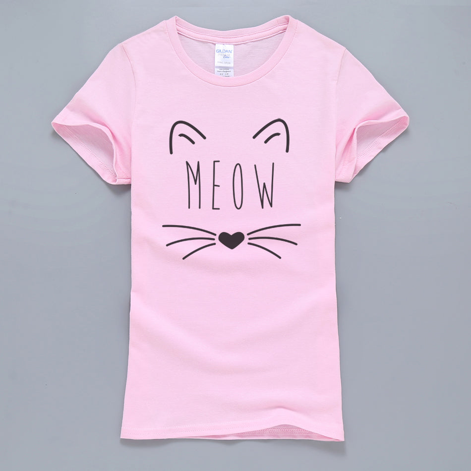 Tight Fit Pink Meow Kitty T