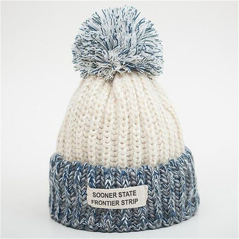Vibrant Ice White - Sweetness Wool Popom Winter Hat Collection
