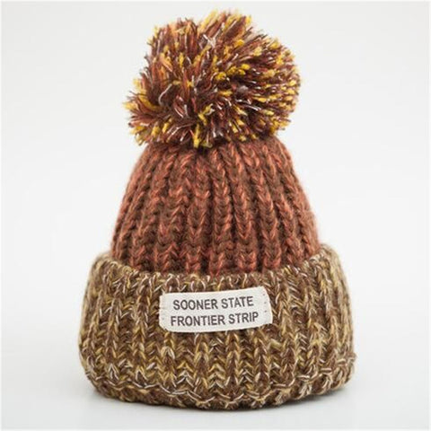 Vibrant Earth Tones - Sweetness Wool Pompom Winter Hat Collection